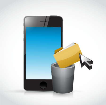 deleting: deleting content on a cell phone. illustration design graphic