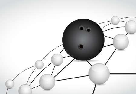 dialogo: bolos enlace esfera red concepto de conexión, ilustración, diseño gráfico de fondo Vectores