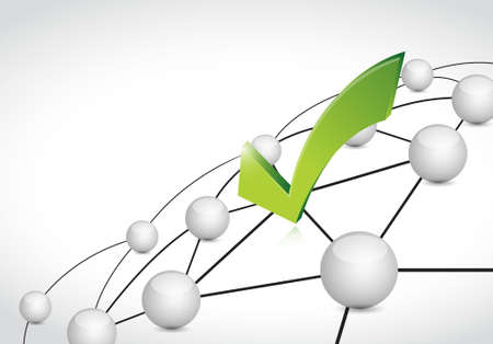 telecommunication: check mark link sphere network connection concept illustration design graphic background