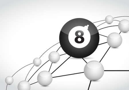 billiard link sphere network connection concept illustration design graphic background