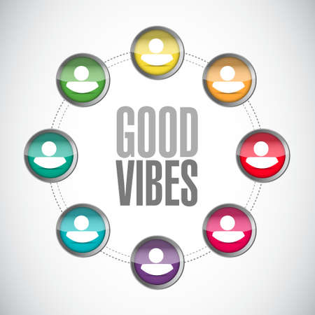 vibes: good vibes people network sign concept illustration design graphic