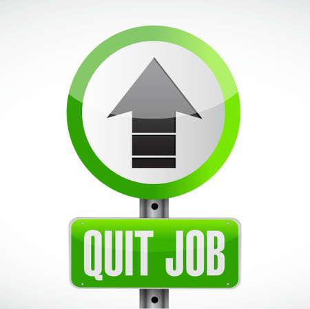 quit job street sign concept illustration design graphic
