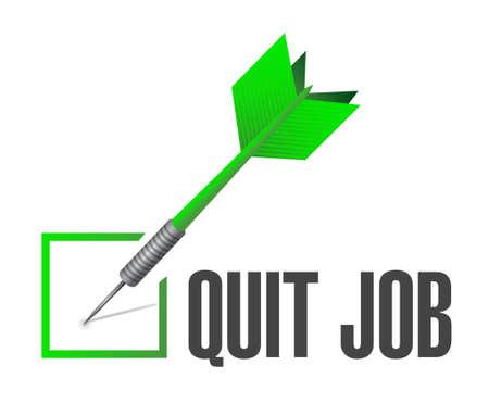 renuncia: dejar de trabajo signo lista de comprobaci�n ilustraci�n del concepto de dise�o gr�fico