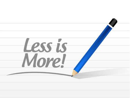sencillez: menos es más signo mensaje de ilustración del concepto de diseño