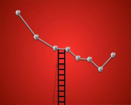 falling business graph and ladder concept illustration design
