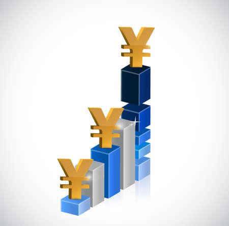 up yen currency business graph illustration design graphic Illusztráció