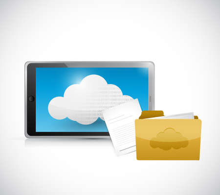 cloud computer: tablet computer cloud computing and files illustration design