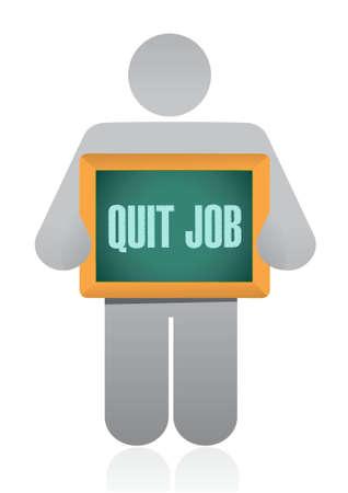 renuncia: dejar de trabajo signo pizarra concepto de ilustraci�n de dise�o gr�fico Vectores