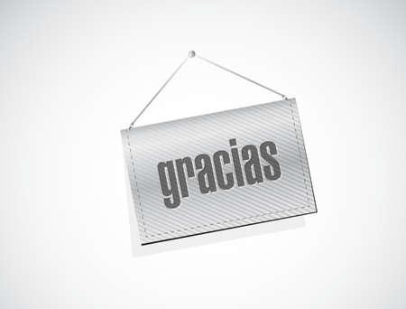 agradecimiento: mensaje de gracias en español en una bandera. Ilustración de diseño gráfico