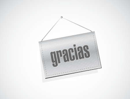 thanks message in spanish on a banner. illustration design graphic