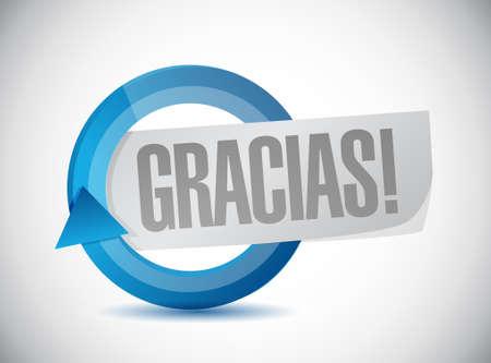 gratefulness: spanish thanks message cycle sign illustration design graphic