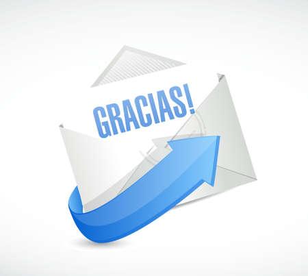 spanish thanks letter sign illustration design graphic