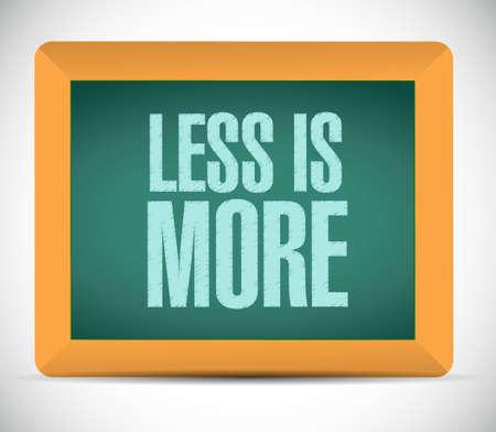 less is more chalkboard sign concept illustration design Stock Illustratie