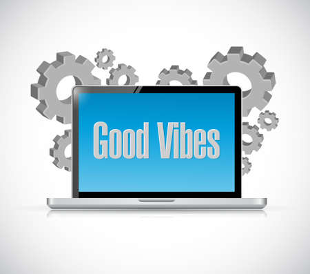 good vibes tech computer sign concept illustration design graphic