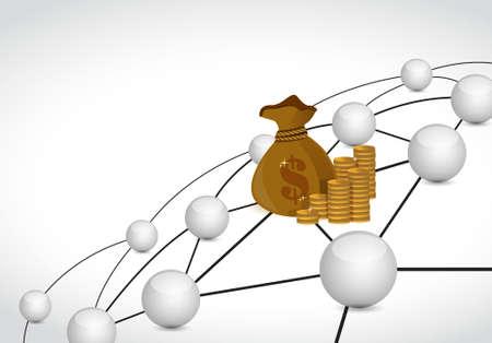 money sphere: money link sphere network connection concept illustration design graphic background