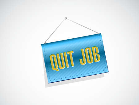 resign: quit job banner sign concept illustration design graphic Illustration