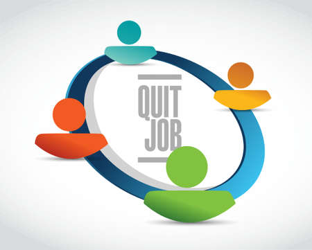resign: quit job network sign concept illustration design graphic