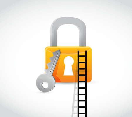keys to heaven: lock secure ladder concept illustration design graphic Illustration