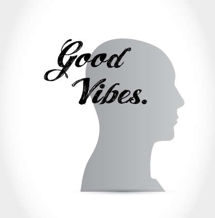 vibes: good vibes head sign concept illustration design graphic