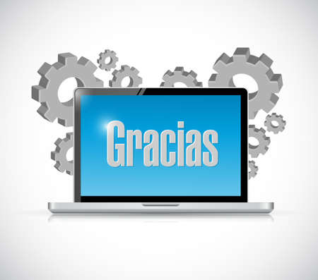 spanish thanks message on a computer illustration design graphic