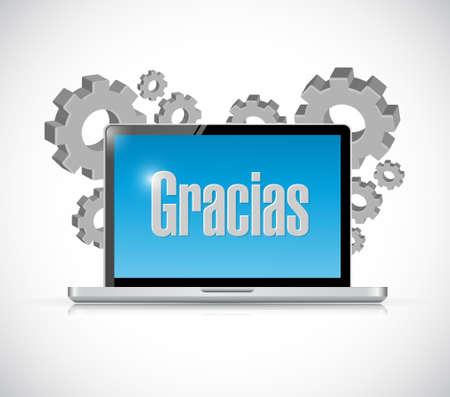 spanish thanks message on a computer illustration design graphic