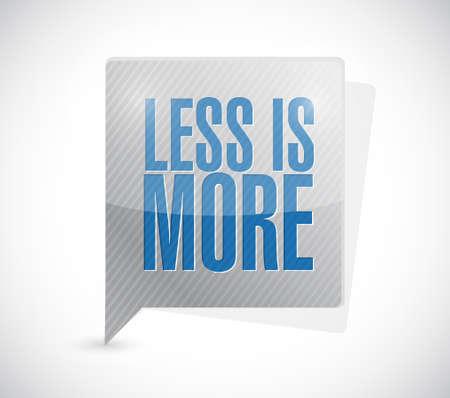 sencillez: menos es más mensaje de signo, ilustración, diseño en blanco