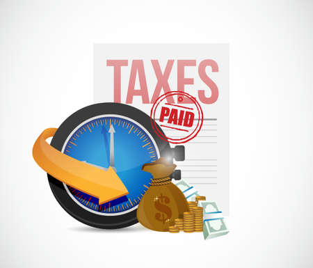 paid: paid taxes icons concept illustration design graphic