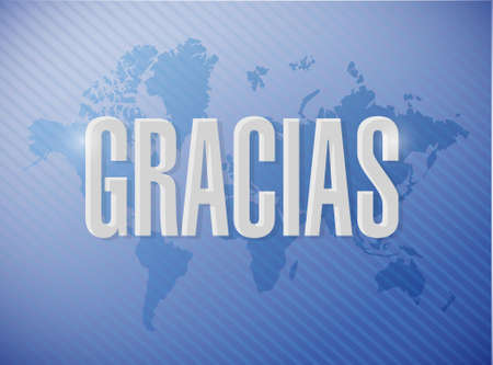agradecimiento: mensaje de gracias en español sobre un mapa del mundo, ilustración, diseño gráfico Vectores