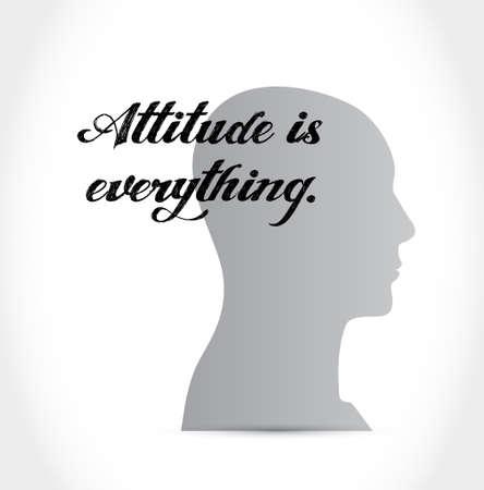 actitud: la actitud es todo signo concepto de cabeza icono ilustración, diseño Vectores