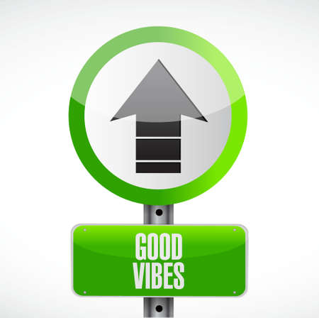 post scripts: good vibes road sign concept illustration design graphic