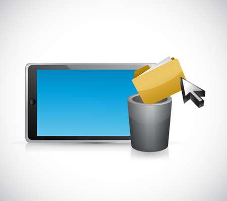 deleting: deleting files form a tablet computer. concept illustration design graphic Illustration