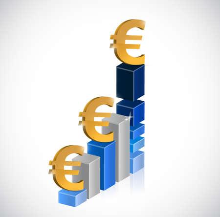 business euro currency graph illustration design graphic Illusztráció