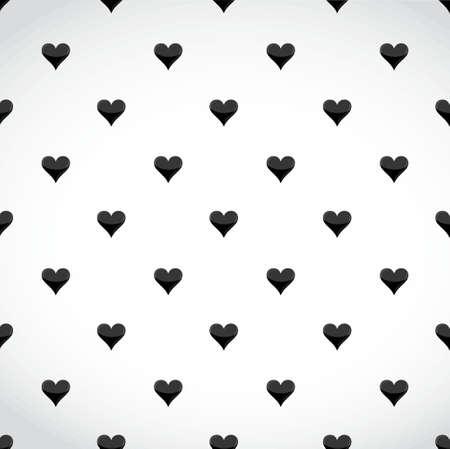 hearts background: black hearts pattern over a white background illustration design