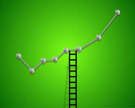 up business graph and ladder concept illustration design