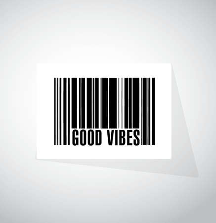 vibes: good vibes barcode sign concept illustration design graphic