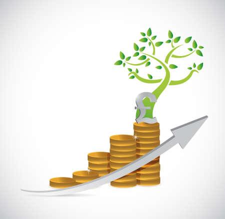 pound coin: pound tree coin business graph illustration design Illustration