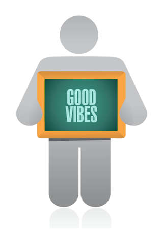 good vibes avatar board sign concept illustration design graphic