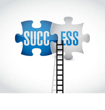puzzle business: success puzzle pieces and ladder concept illustration design over white