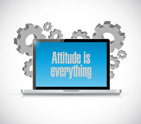 attitude is everything laptop computer sign concept illustration design icon Stock Illustratie