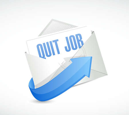 resign: quit job email sign concept illustration design graphic