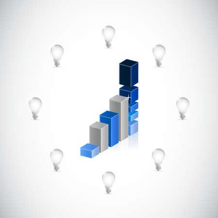 business graph light bulb ideas illustration design graphic