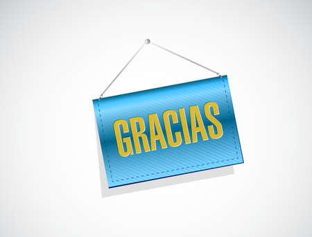 gratefulness: spanish thanks message banner sign illustration design graphic