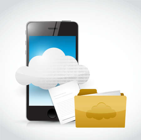 file: smart phone cloud computing and files illustration design Illustration