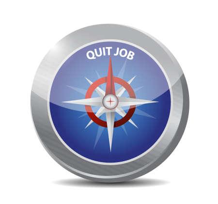 quit: quit job compass sign concept illustration design graphic