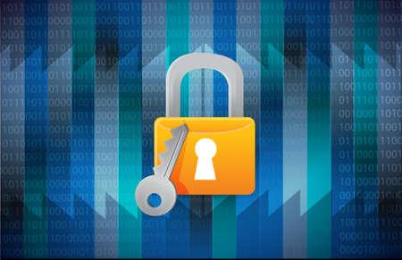 digitized: secure lock over a binary background illustration design