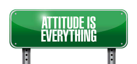 attitudes: attitude is everything road sign concept illustration design icon