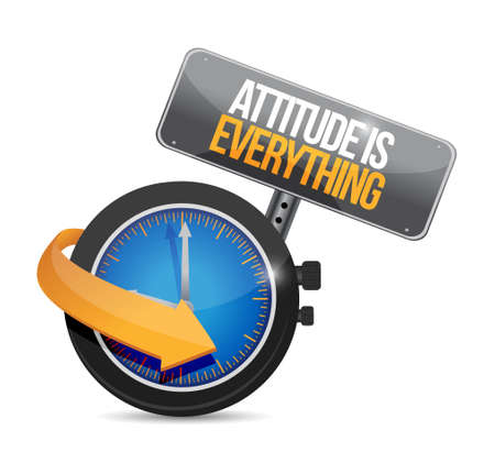 encouragements: attitude is everything watch sign concept illustration design icon