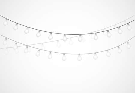 bulb light: String of Lights. hanging light bulbs isolated over white
