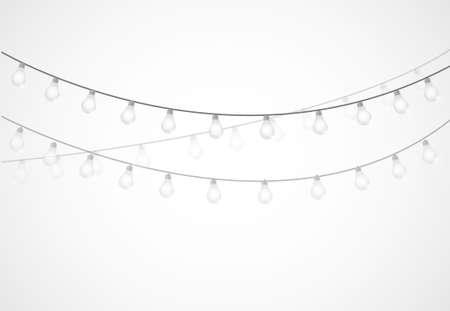 String of Lights. závěsné žárovky izolované přes bílé Ilustrace
