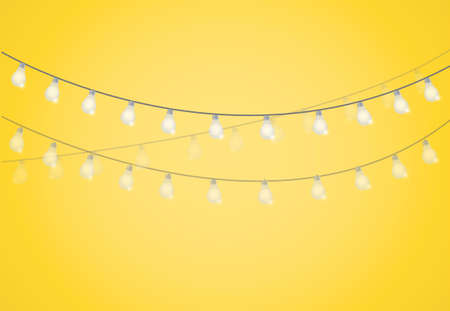 String of Lights. hanging light bulbs illustration design graphic